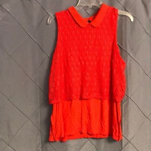 Elle lace Peter Pan collar top SZ L